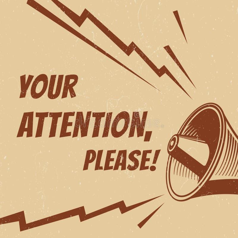 La atención vector por favor el cartel con el megáfono de la voz stock de ilustración