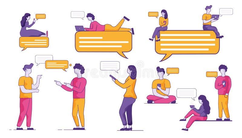 La audiencia de la juventud comunica activamente en mensajero ilustración del vector