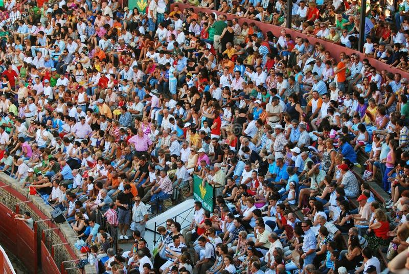 La audiencia del área de la tauromaquia en Huelva foto de archivo libre de regalías