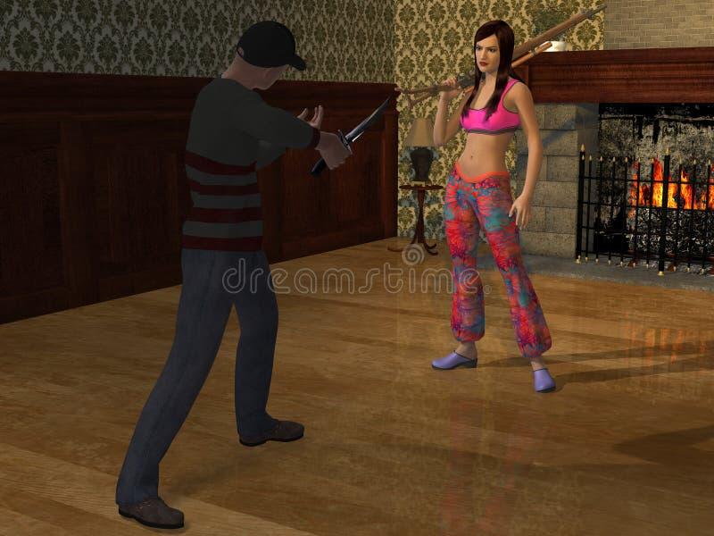 La autodefensa con el arma 3d rinde ilustración del vector