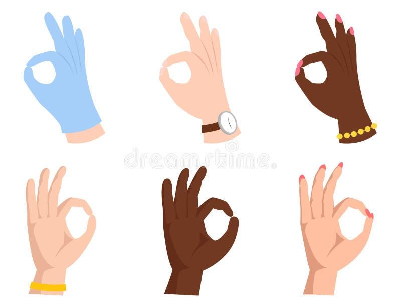 La autorización da el ser humano del negocio de la señal del acuerdo del okey del gesto del éxito está de acuerdo sí el mejor vec ilustración del vector