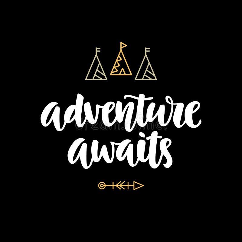 La aventura aguarda la capa de la foto del inconformista, cita de la inspiración libre illustration