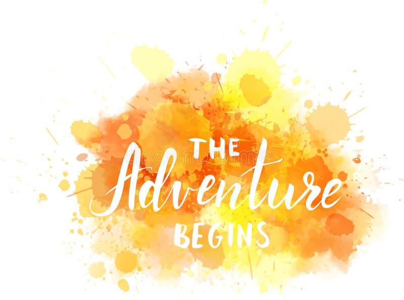 La aventura comienza el fondo de la acuarela stock de ilustración