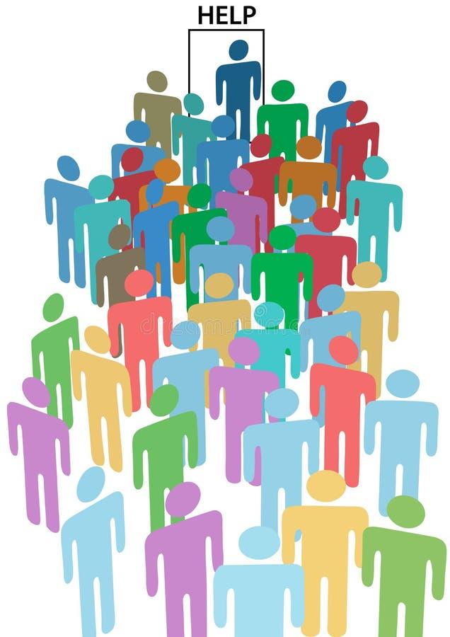 La AYUDA de la formación de la muchedumbre de la gente QUISO la puerta ilustración del vector