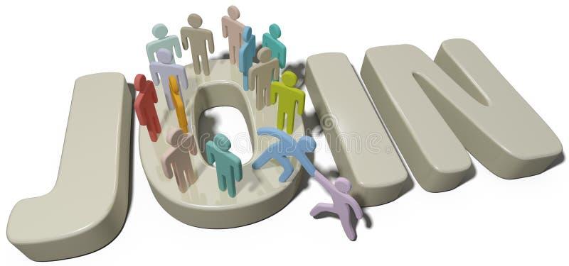 La ayuda de la persona se une al social o a la gente de la compañía stock de ilustración