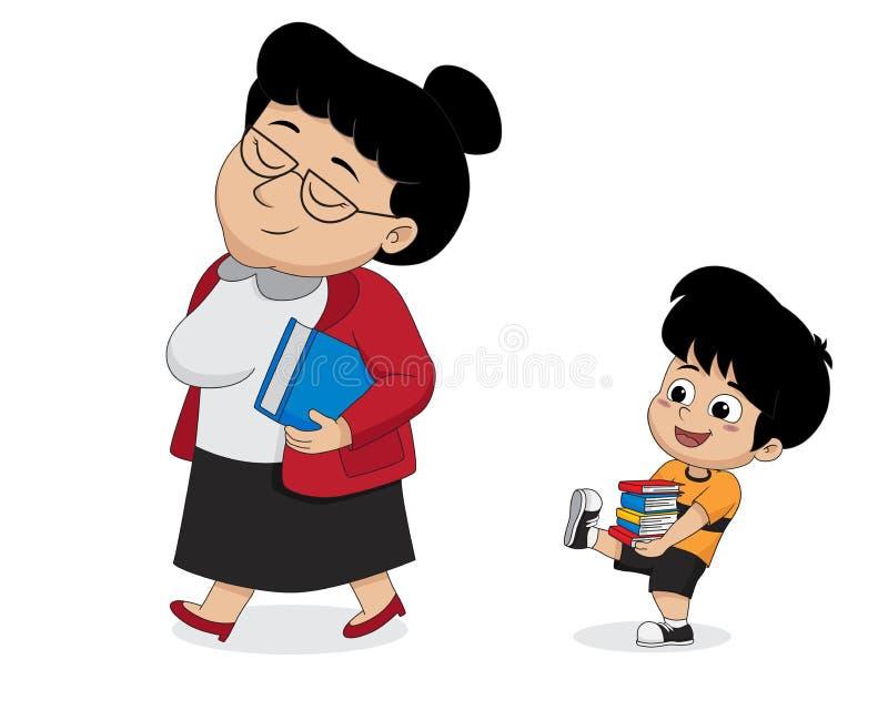 La ayuda de los niños el profesor lleva un libro ilustración del vector