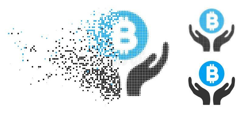 La ayuda de semitono Destructed de Bitcoin del pixel da el icono libre illustration