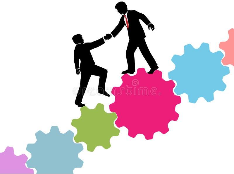 La ayuda del consultor de negocio se une a tecnología ilustración del vector