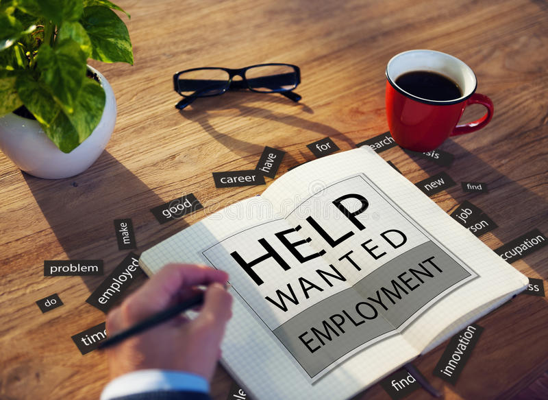 La ayuda quiso el empleo Job Hiring Concept foto de archivo