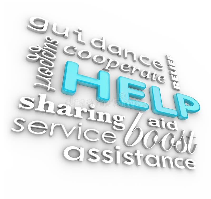 La ayuda redacta el servicio de asistencia del fondo 3D stock de ilustración