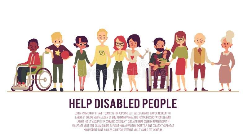 La ayuda y la ayuda del ejemplo plano del vector de la bandera de las personas discapacitadas aislaron ilustración del vector