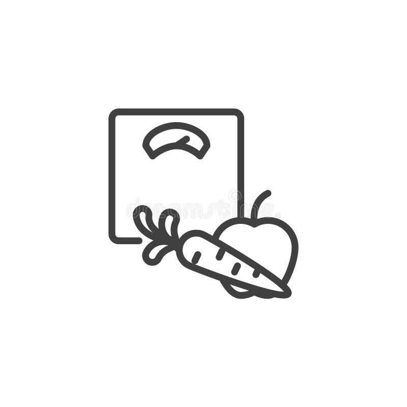 La báscula de baño y las frutas alinean el icono libre illustration
