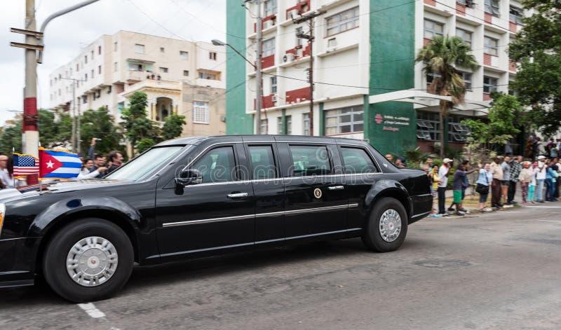 La bête - voiture présidentielle d'état des USA à La Havane, Cuba photographie stock