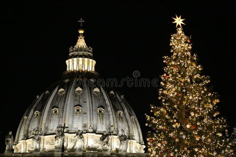 La bóveda de la basílica de StPeter y el top del árbol de navidad en el Vaticano imagen de archivo libre de regalías