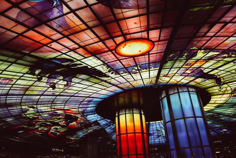 La bóveda de la luz en la estación del bulevar de Formosa en Gaoxiong, Taiwán fotografía de archivo