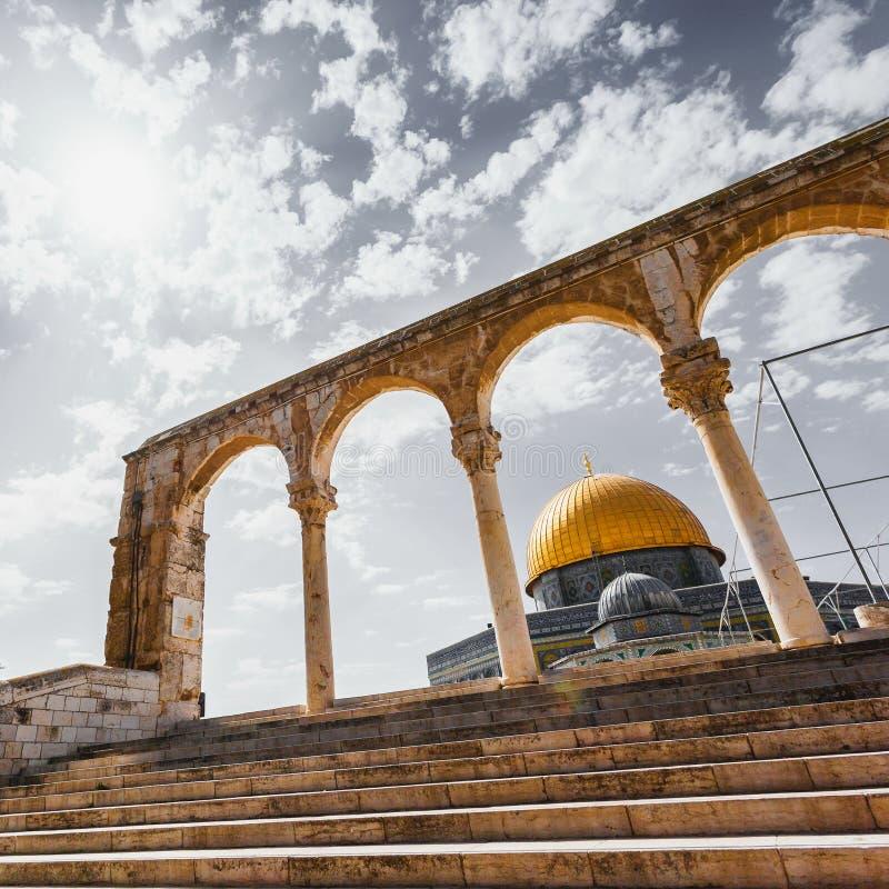 La bóveda de la roca en la Explanada de las Mezquitas en Jerusalén, Israel imagen de archivo libre de regalías