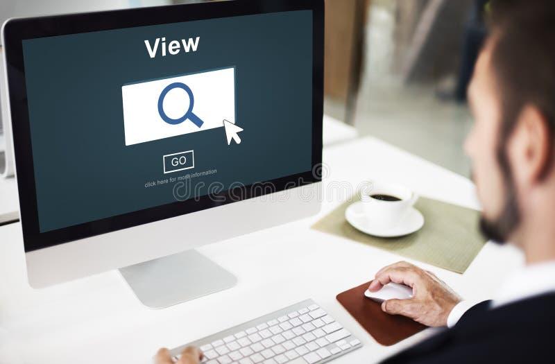 La búsqueda de la búsqueda de la visión examina el concepto de Vision imagenes de archivo