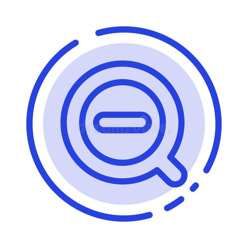 La búsqueda, quita, suprime menos la línea de puntos azul línea icono ilustración del vector