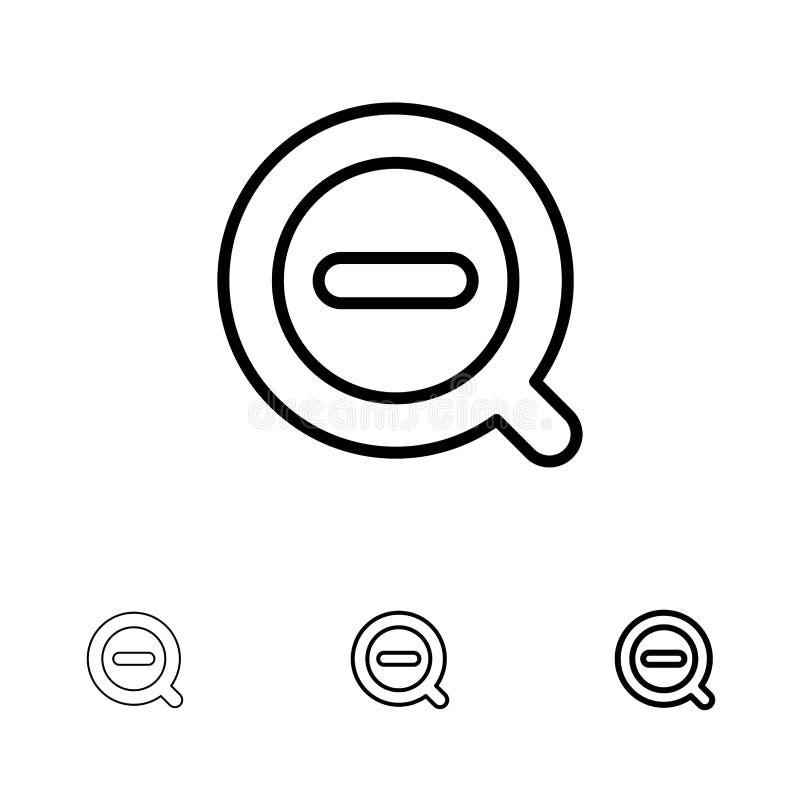 La búsqueda, quita, suprime menos la línea negra intrépida y fina sistema del icono stock de ilustración