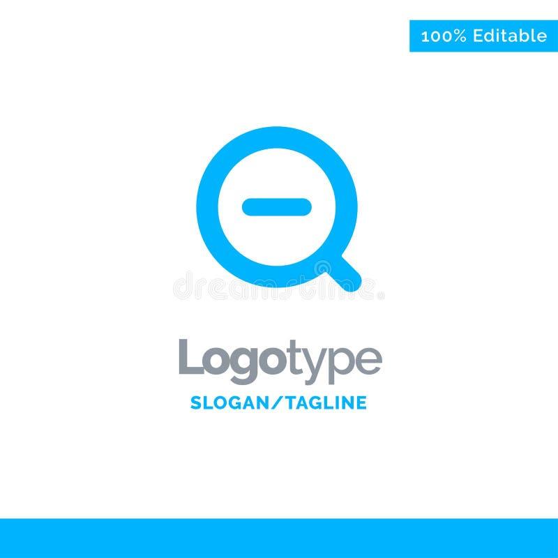 La búsqueda, quita, suprime menos a Logo Template sólido azul Lugar para el Tagline ilustración del vector