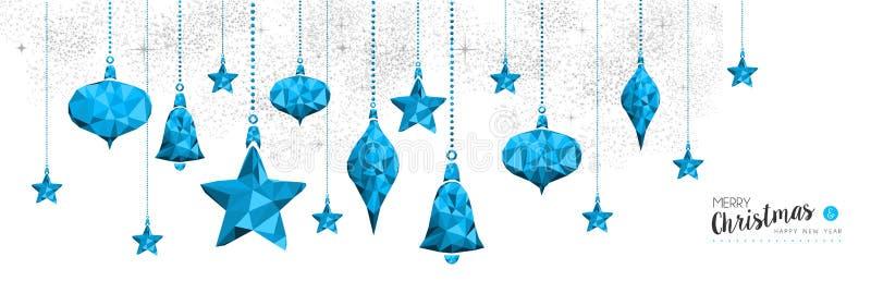 La babiole bleue de Noël et de nouvelle année ornementent la bannière illustration stock