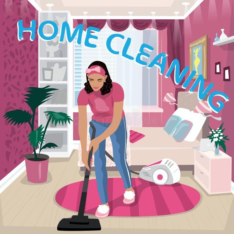 La babysitter vacuums la stanza di bambini illustrazione vettoriale