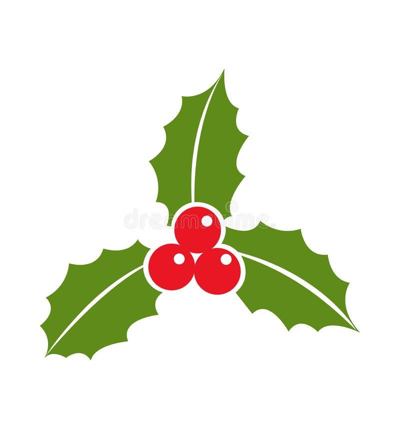 La bacca dell'agrifoglio lascia a Natale dell'icona l'illustrazione piana di vettore isolata su bianco illustrazione di stock