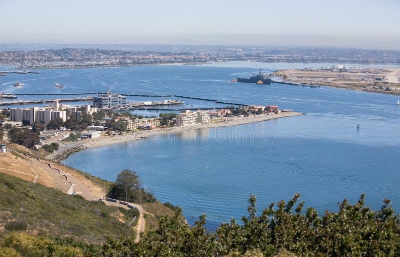 La bahía de San Diego pasa por alto fotografía de archivo libre de regalías
