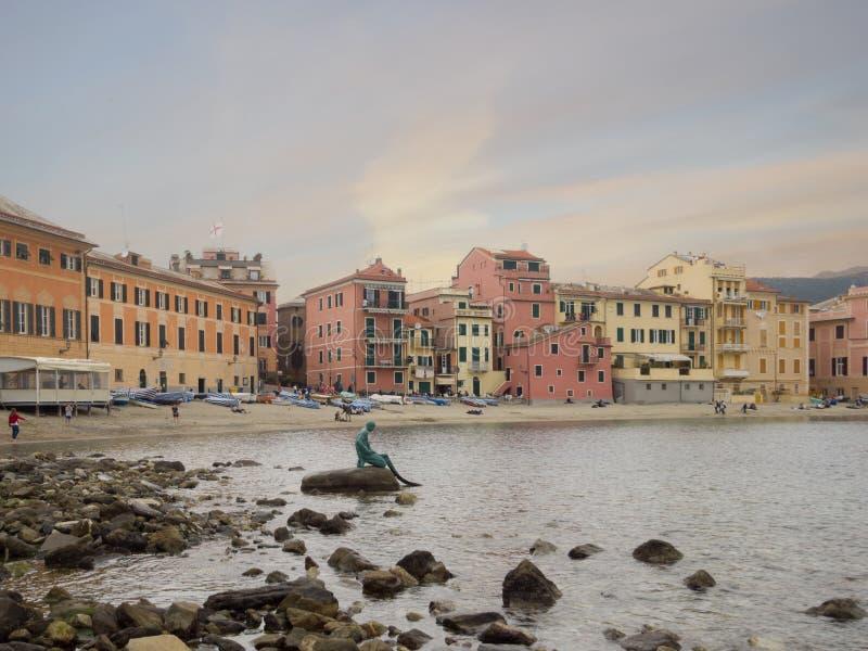 La bahía del silencio, Sestri Levante, Liguria, Italia fotos de archivo