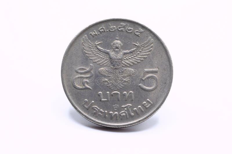 La baht tailandese cinque raccoglie l'anno 1982, sito posteriore delle monete di Garuda immagini stock