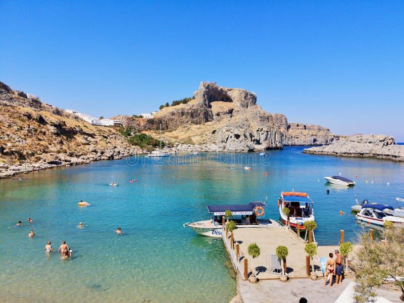La baia di St Paul, Rodi, Grecia fotografia stock