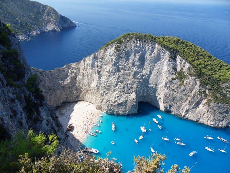La baie de navagio de l'île Grèce de Zakynthos image libre de droits