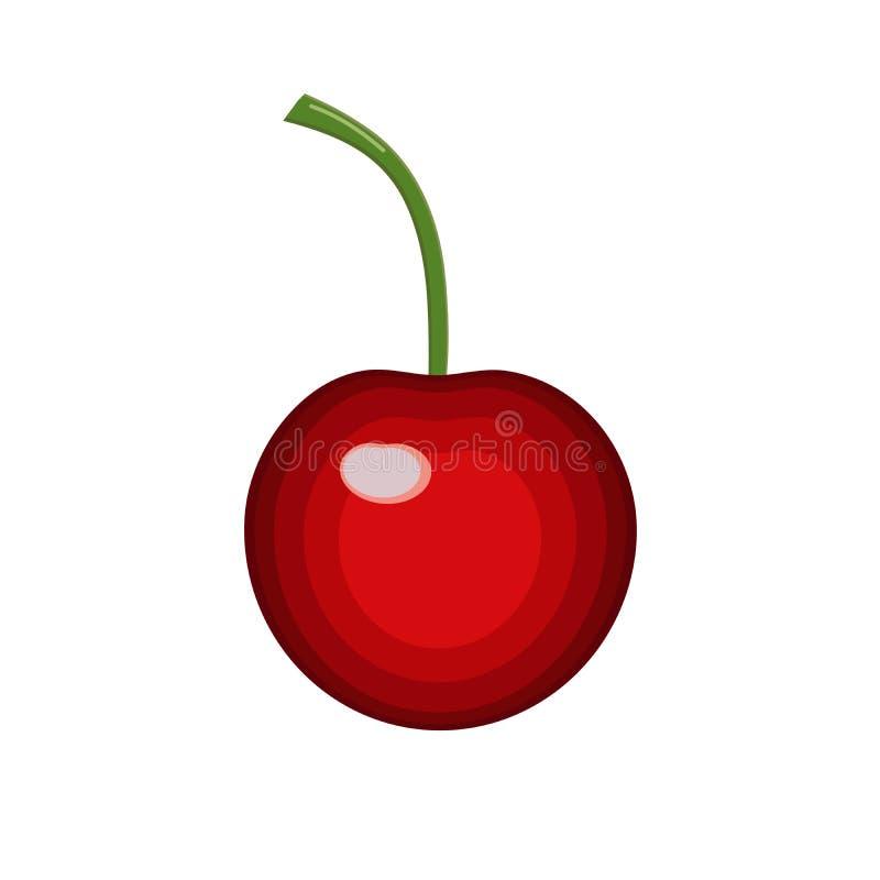 La baie de rouge de cerise, icône sur le fond d'isolement, concept pour des agriculteurs lancent l'aliment biologique sur le marc illustration stock