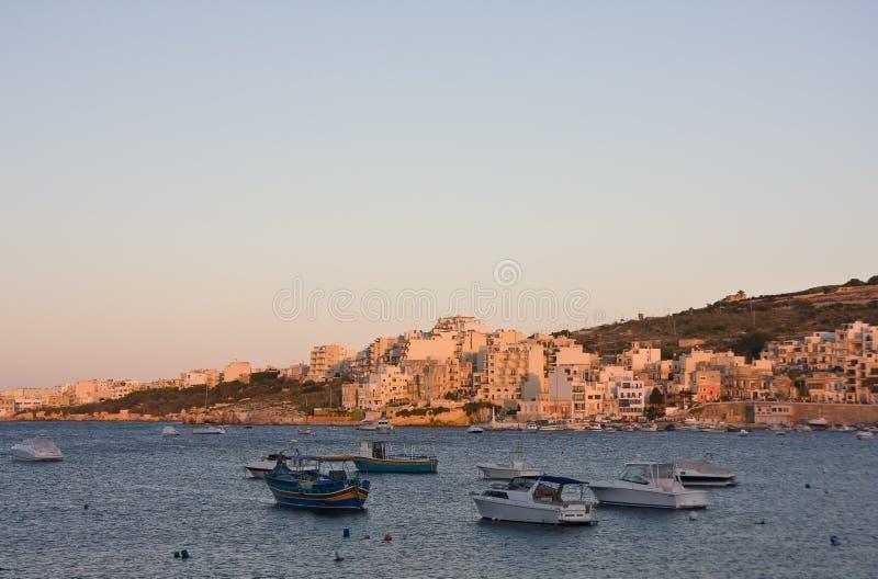 La baie de St Paul, Malte image libre de droits