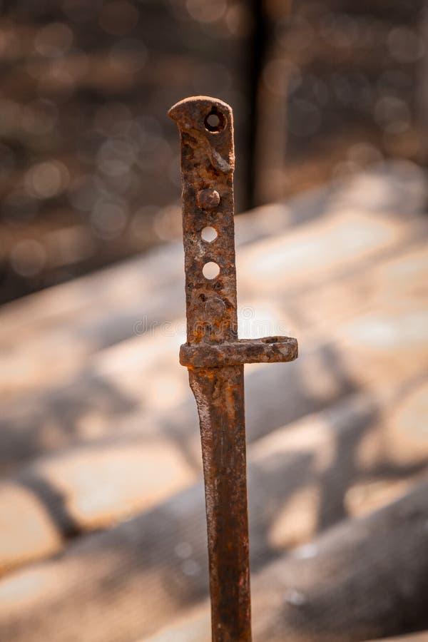 La baionetta del vecchio fucile immagine stock libera da diritti