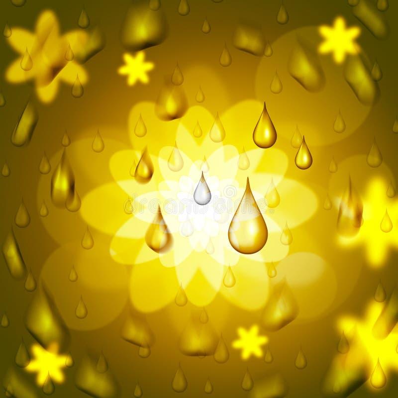 La baisse de pluie montre la fleur florale et le pétale illustration de vecteur
