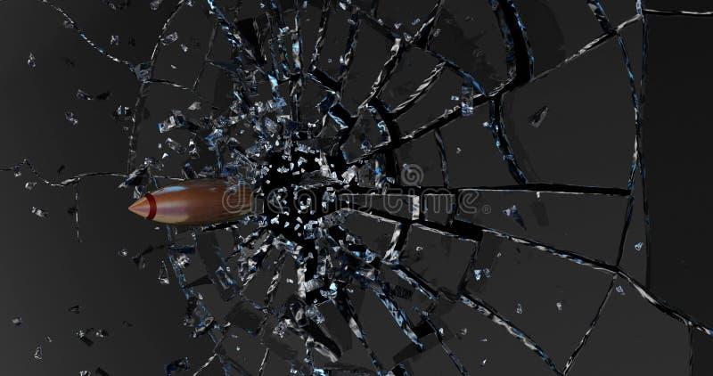 La bala rompe el vidrio 3d rinden stock de ilustración
