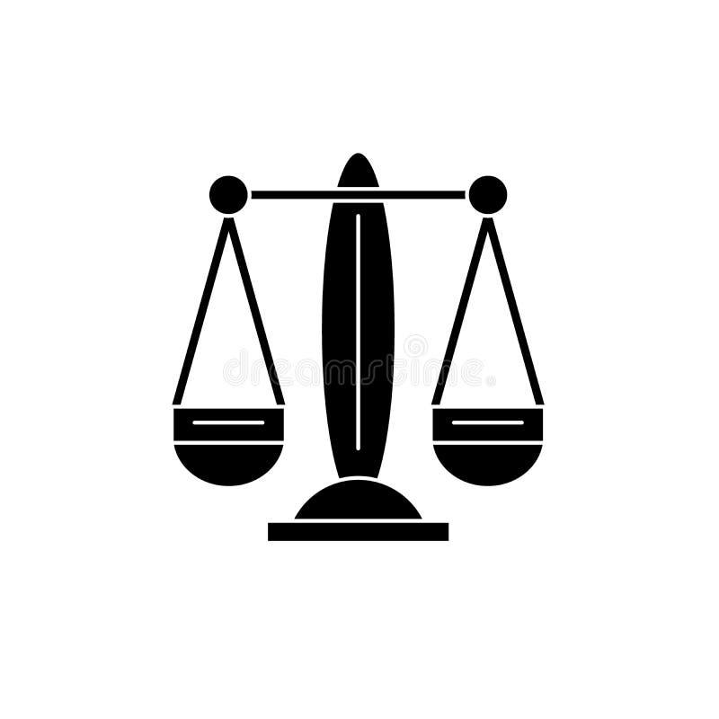 La Balance, l'icône de noir de signe de zodiaque, dirigent pour se connecter le fond d'isolement Balance, le symbole de concept d illustration stock