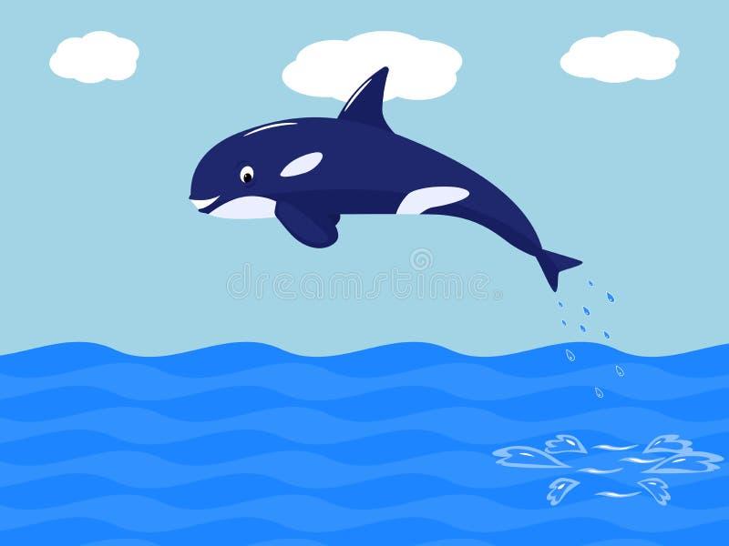 La baleine drôle de bande dessinée de vecteur saute de l'eau illustration de vecteur