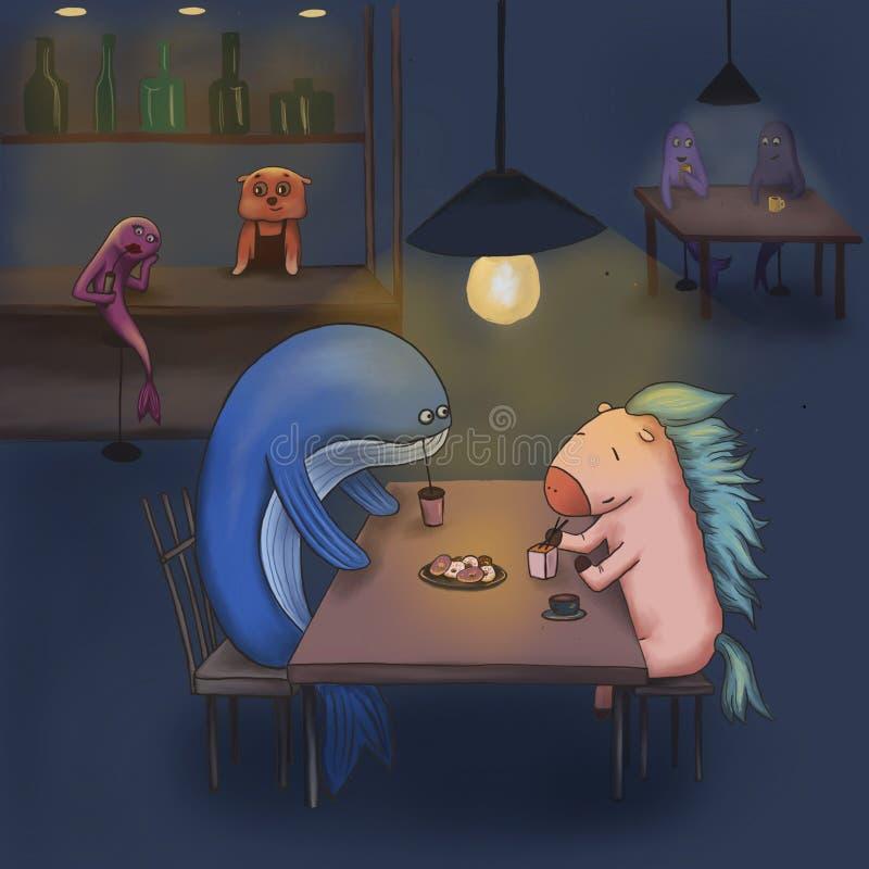 La baleine et le cheval dînent dans la barre illustration libre de droits