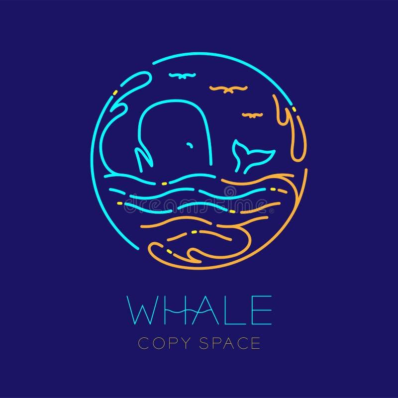 La ballena, la gaviota, la onda y el agua salpican la forma del marco del círculo, línea determinada ejemplo de la rociada del mo stock de ilustración