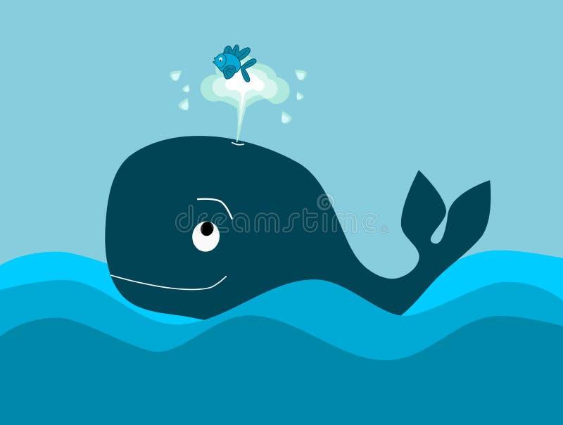 La ballena grande y los pequeños pescados ilustración del vector