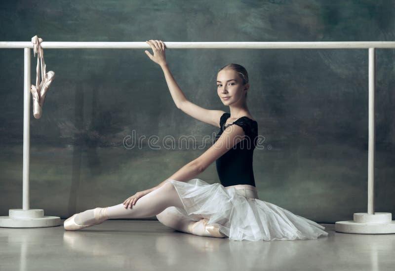 La ballerina classica che posa alla sbarra di balletto immagine stock