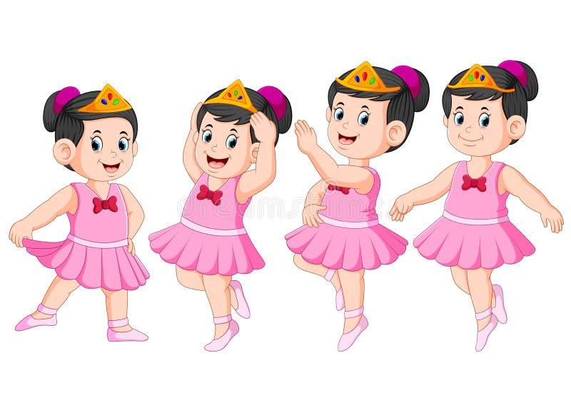 La ballerina sta ballando con il bello vestito illustrazione vettoriale