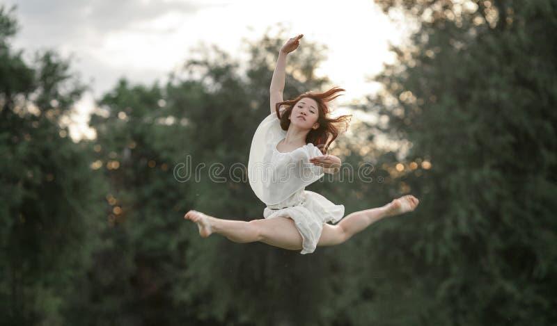 La ballerine dans la robe saute sur le fond d'arbres images stock