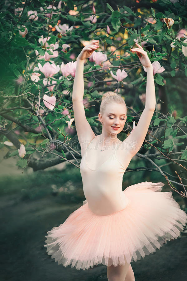 La ballerine dansant dehors le ballet classique pose dans des terres de fleurs images libres de droits
