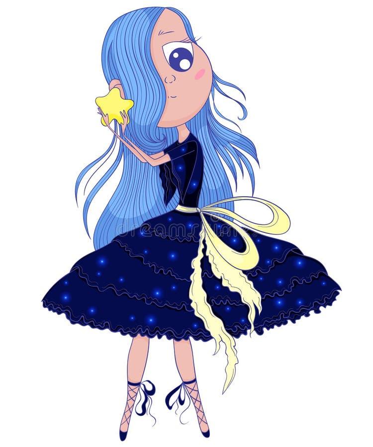 La ballerine mignonne d'anime avec les cheveux bleus dans le tutu se tenant dans des ses mains se tiennent le premier rôle illustration libre de droits