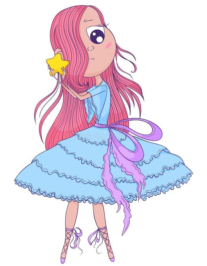 La ballerine mignonne d'anime avec les cheveux roses dans le tutu se tenant dans des ses mains se tiennent le premier rôle illustration stock
