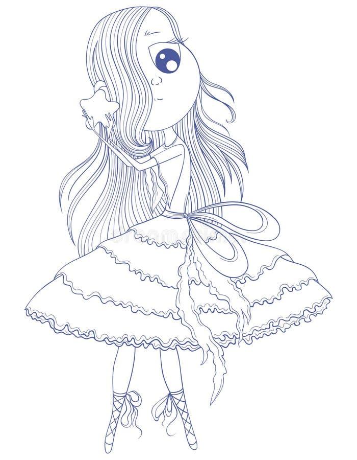 La ballerine mignonne d'anime dans le tutu se tenant dans des ses mains se tiennent le premier rôle illustration de vecteur