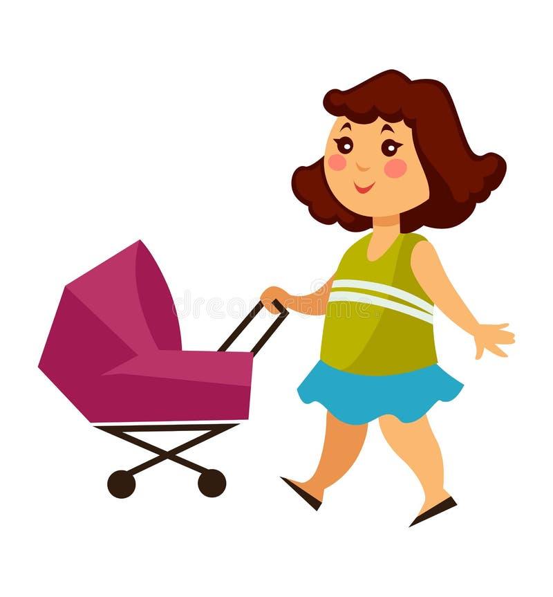 La bambina cammina con carrozzina per le bambole illustrazione di stock